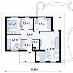 Проект дома «Кок-Тобе» 76,8 кв.м. из SIP панелей