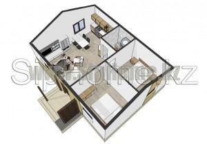 Планировка дома из СИП панелей 56 кв.м Алматы