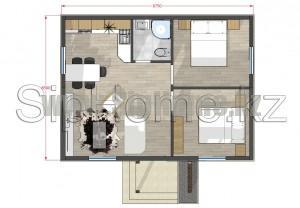 Проект дома из СИП панелей 56 кв.м Алматы