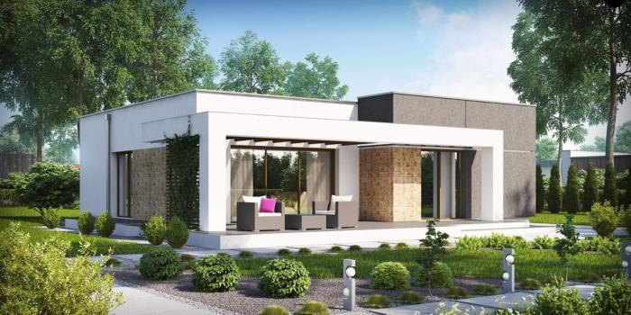 Проект одноэтажного дома «Рио» в стиле хай-тек из сэндвич (СИП) панелей 95 кв. м