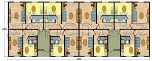 Проект Кольсай для строительства многоквартирного двухподъездного дома