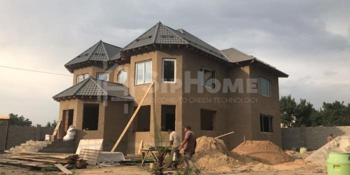 Строительство двухэтажного дома из кирпича мкрн Калкаман