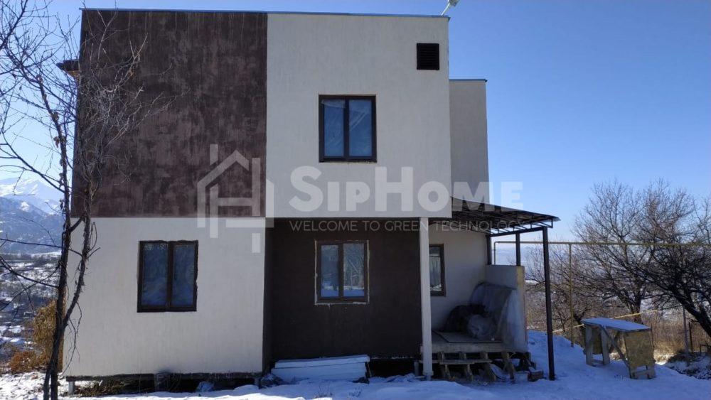 Строительство каркасного дома на склоне 198,7 м2 в стиле хайтек в Алматы