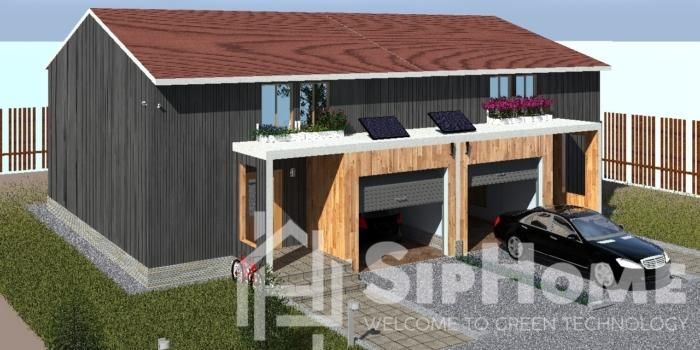 (Объект СДАН) Строительство дома на две семьи (Дуплекс) из СИП панелей на 270 квадратных метров.