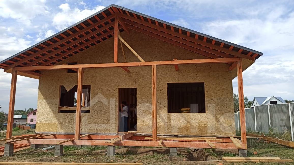 Строительство одноэтажного дома площадью 105 квадратных метров по каркасной технологии (объект СДАН)