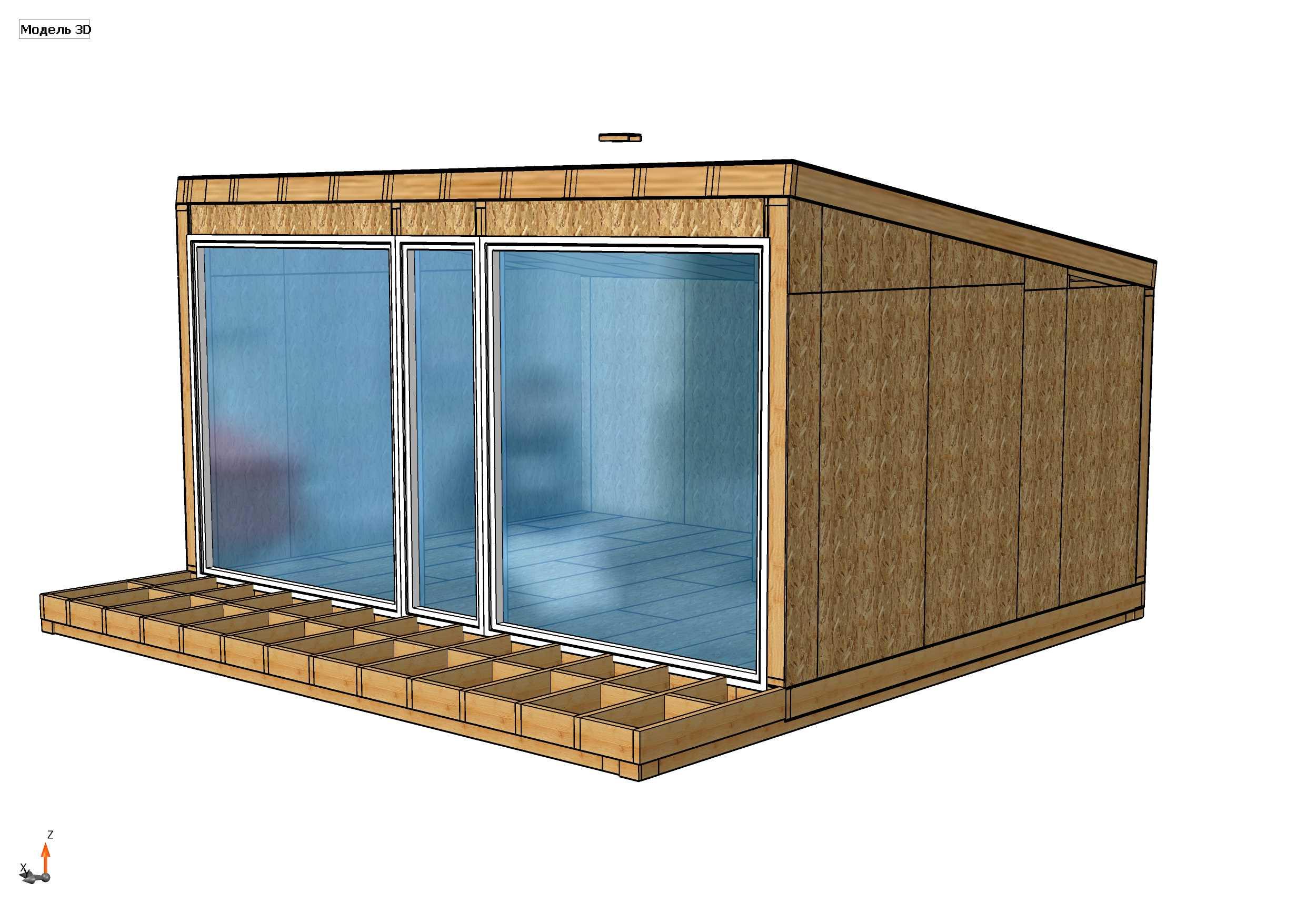 Строительство дома из СИП панелей площадью 43,34 м2 (Объект СДАН)